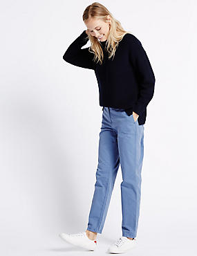 Pure Cotton Turn Up Standard Chinos, PALE BLUE, catlanding