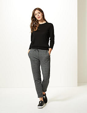 Checked Slim Leg Trousers , CHARCOAL, catlanding