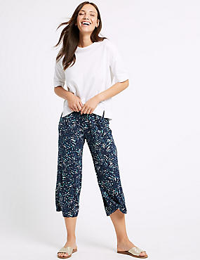 Leaf Print Jersey Wide Leg Cropped Trousers , NAVY MIX, catlanding