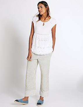 Pure Cotton Striped Slim Cropped Trousers