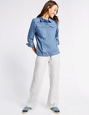 Pure Linen Striped Wide Leg Trousers