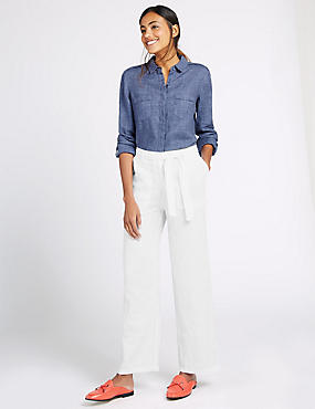 Pure Linen Wide Leg Trousers, WHITE, catlanding
