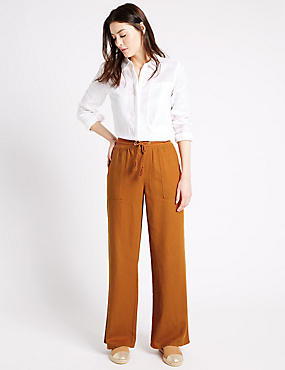 Linen Rich Beach Wide Leg Trousers