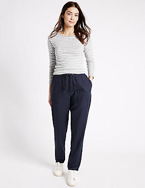 Linen Rich Drawstring Tapered Leg Trousers