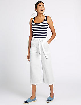 Pure Linen Cropped Trousers