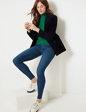 Embellished Mid Rise Super Skinny Leg Jeans , DARK INDIGO, catlanding