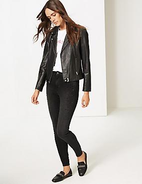 Embellished Mid Rise Super Skinny Leg Jeans , GREY, catlanding