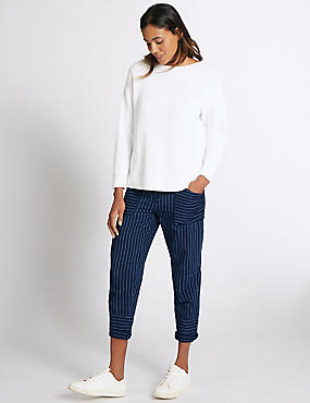 Pure Cotton Striped Combat Cropped Trousers