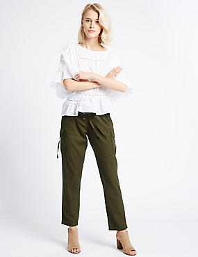 Cotton Blend Striped Tapered Leg Trousers