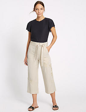 Linen Blend Embroidered Wide Leg Cropped Trousers