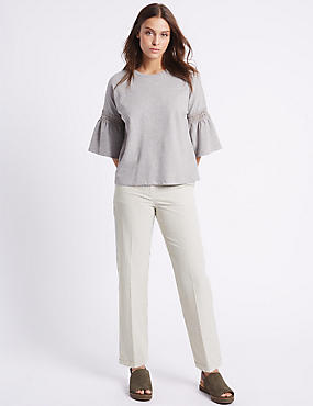 Pure Cotton Straight Leg Trousers