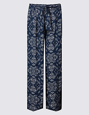 Printed Crepe Wide Leg Trousers