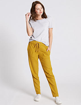 Linen Rich Tapered Leg Trousers, OCHRE, catlanding