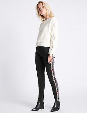 Embroidered Mid Rise Skinny Leg Jeans