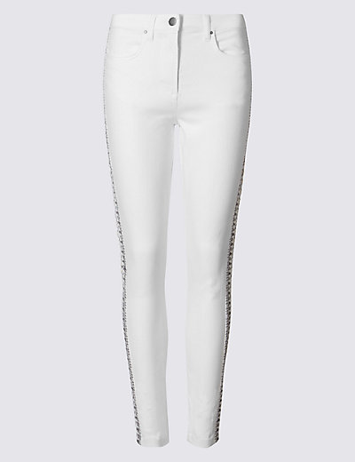 Embroidered mid rise skinny leg jeans m s
