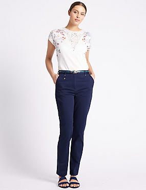 Belted Tapered leg Chinos, NAVY, catlanding