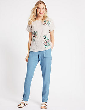 Linen Rich Patch Pocket Peg Trousers