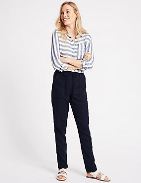 Linen Rich Peg Trousers, NAVY, catlanding