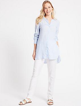 Linen Rich Peg Trousers, SOFT WHITE, catlanding