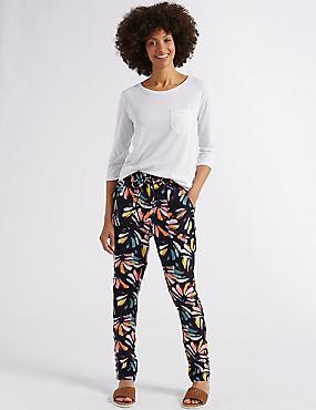 Linen Rich Floral Print Tapered Leg Trousers, NAVY MIX, catlanding