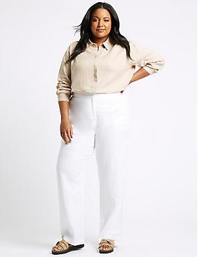 CURVE Linen Rich Wide Leg Trousers, SOFT WHITE, catlanding