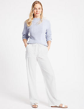 Linen Rich Wide Leg Trousers, SOFT WHITE, catlanding