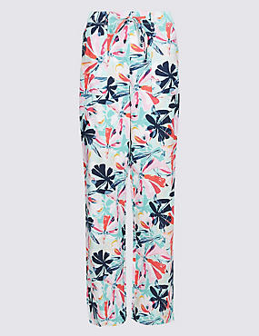 Linen Rich Floral Print Flared Trousers , NAVY MIX, catlanding