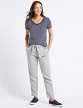 Pure Linen Peg Trousers , GREY MIX, catlanding