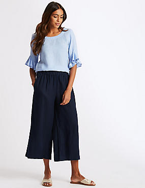 Pure Linen Cropped Wide Leg Trousers, NAVY, catlanding