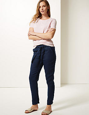 Pure Linen Peg Trousers