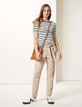 Pure Linen Peg Trousers , NEUTRAL, catlanding