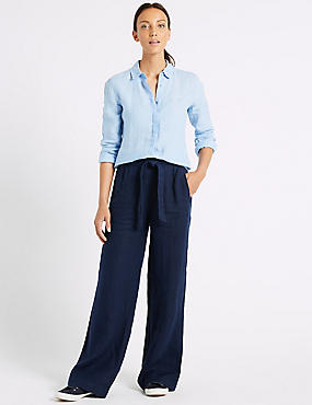 Pure Linen Wide Leg Flared Trousers