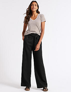 Pure Linen Wide Leg Trousers , BLACK, catlanding