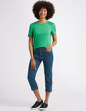 Straight Leg Mid Rise Cropped Jeans , MEDIUM BLUE, catlanding
