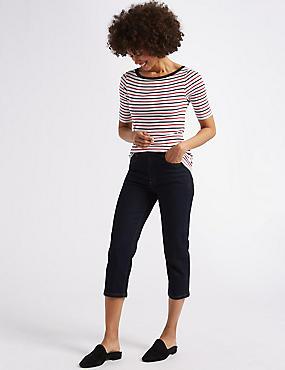 Straight Leg Mid Rise Cropped Jeans , INDIGO, catlanding