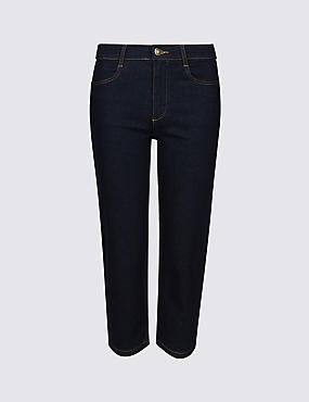 Straight Leg Mid Rise Cropped Jeans , , catlanding