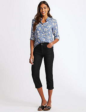 Straight Leg Mid Rise Cropped Jeans , BLACK, catlanding