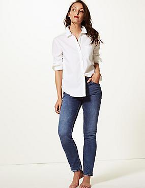 Mid Rise Slim Leg Jeans, DARK BLUE, catlanding