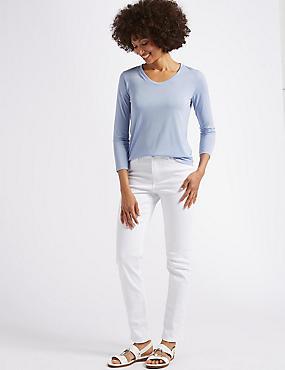 Mid Rise Slim Leg Jeans, SOFT WHITE, catlanding