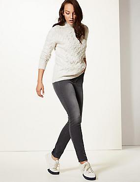 Mid Rise Slim Leg Jeans, DARK GREY, catlanding