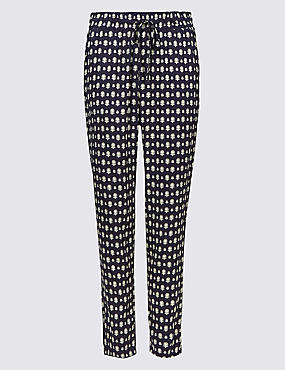 Geometric Print Tapered Peg Trousers