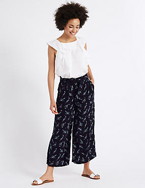 Feather Print Cropped Culottes