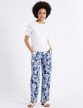 Pure Linen Printed Wide Leg Trousers
