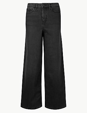 Mid Rise Wide Leg Cropped Jeans, BLACK, catlanding