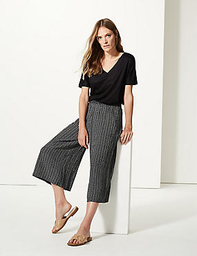 Printed Wide Leg Cropped Flared Trousers , BLACK, catlanding