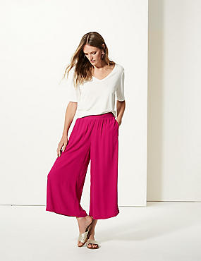 Wide Leg Cropped Flared Trousers , RASPBERRY, catlanding
