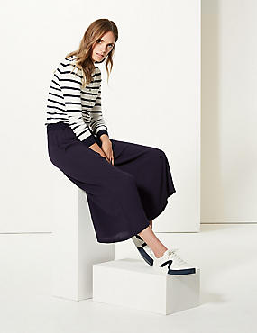 Wide Leg Cropped Flared Trousers , NAVY, catlanding