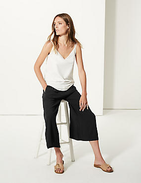 Wide Leg Cropped Flared Trousers , BLACK, catlanding