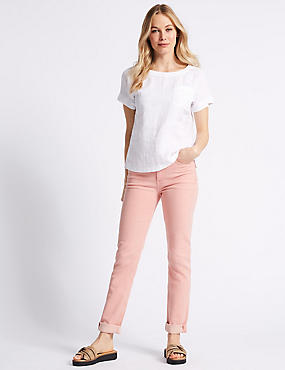 Relaxed Slim Mid Rise Jeans , PINK, catlanding