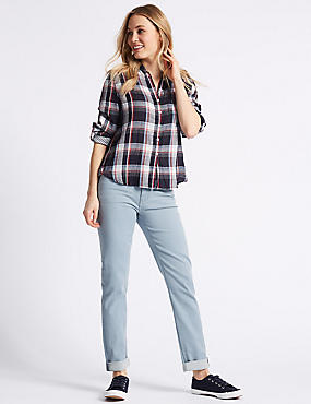 Relaxed Slim Mid Rise Jeans , SOFT BLUE, catlanding
